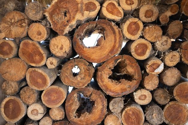Pattern di sfondo della pila di tronco. Foto Premium