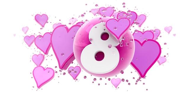 Sfondo nei colori rosa con cuori e sfere e il numero otto
