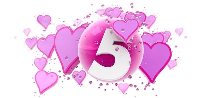 Sfondo nei colori rosa con cuori e sfere e il numero cinque