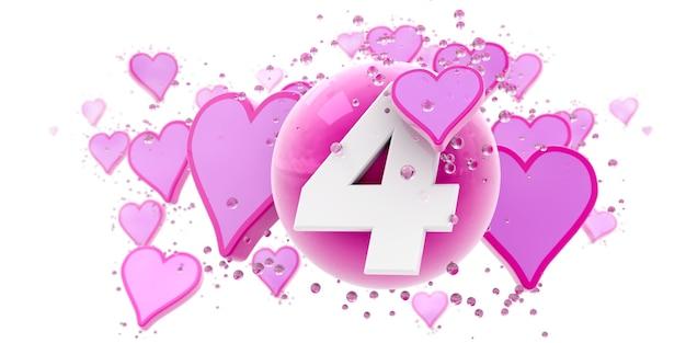 Sfondo nei colori rosa con cuori e sfere e il numero quattro