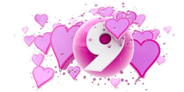 Sfondo nei colori rosa con cuori e sfere e il numero nove