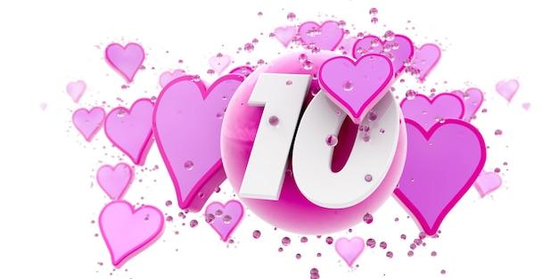 Sfondo nei colori rosa con cuori e sfere e il numero dieci