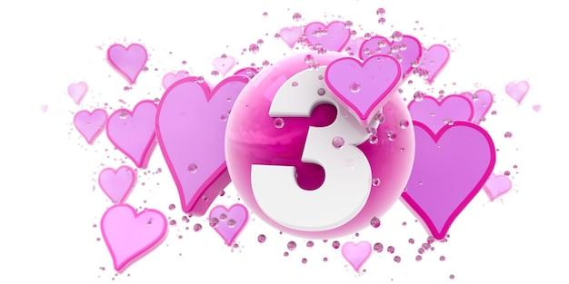 Sfondo nei colori rosa con cuori e sfere e il numero tre