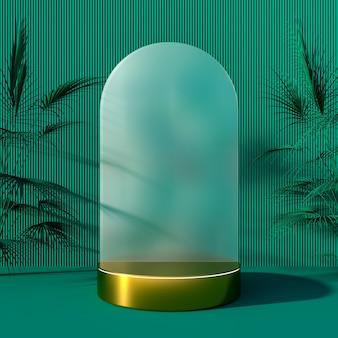 Sfondo o podio con visualizzazione del prodotto oggetto di forma cilindrica e rendering 3d della decorazione dell'albero