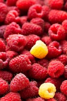 Sfondo di lamponi rossi e bianchi maturi. Foto Premium