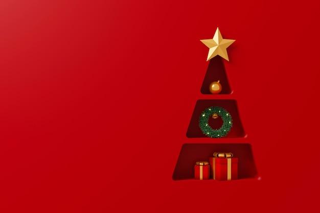 Scaffale di sfondo a forma di albero di natale con scatola regalo e elemento decorativo su sfondo rosso