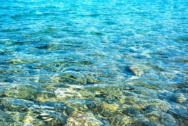Sfondo di trasparenti acque oceaniche increspature.