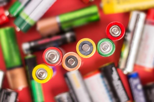 Sfondo di batterie alcaline usate