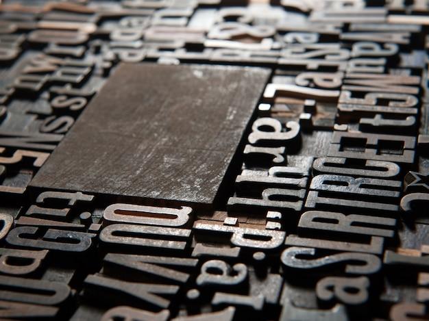 Sfondo di casi di lettere di stampa in legno d'epoca