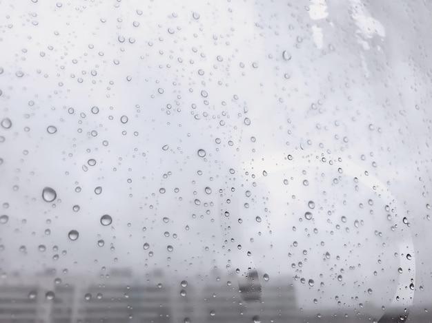 Gocce d'acqua di sfondo. modello naturale di gocce di pioggia. gocce di pioggia sui vetri delle finestre. colpo astratto di gocce di pioggia su vetro. goccia di pioggia su vetro. sfondi per la creatività. copia spazio per sito o banner