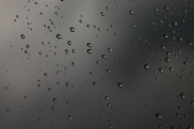Gocce d'acqua di sfondo. gocce di pioggia sui vetri delle finestre. modello naturale di gocce di pioggia. colpo astratto di gocce di pioggia su vetro. goccia di pioggia caduta astratta di pioggia su vetro. posto per un'iscrizione o un logo