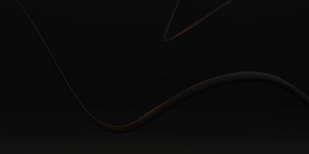 La curva nera di struttura del tubo di plastica della curva dell'onda del fondo ha distorto l'illustrazione astratta 3d