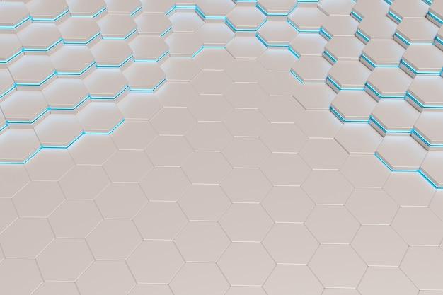 Sfondo di esagoni in metallo bianco con linea di luce blu. rendering 3d