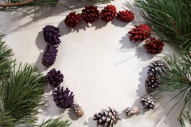 Sfondo di decorazioni invernali. vista dall'alto strobila colorate in cerchio su sfondo bianco, ramo di pino intorno e spazio libero al centro.