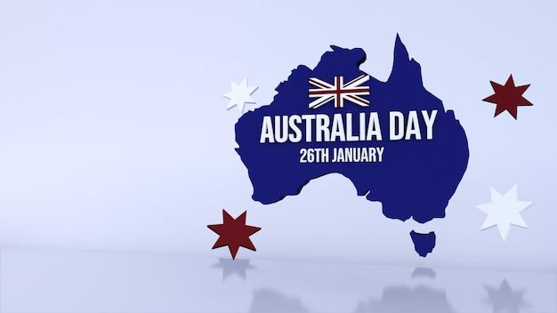 Sfondo con una mappa blu per l'australia giorno. rendering 3d