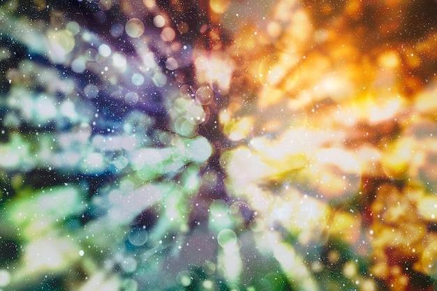 Sfondo con luci colorate e illuminanti a forma di cerchio con sfondo nero, sfondo del nuovo anno, sfondo diwali, sfondo natalizio
