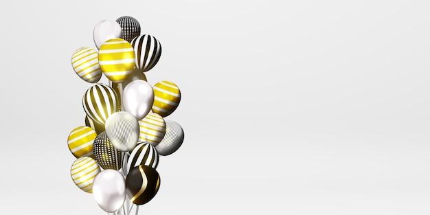 Sfondo con palloncini multicolori e nastri giorno speciale illustrazione 3d sullo sfondo