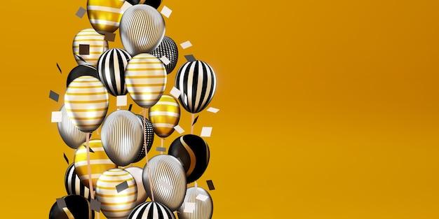 Sfondo con palloncini multicolori e nastri giorno speciale sfondo 3d illustrazione