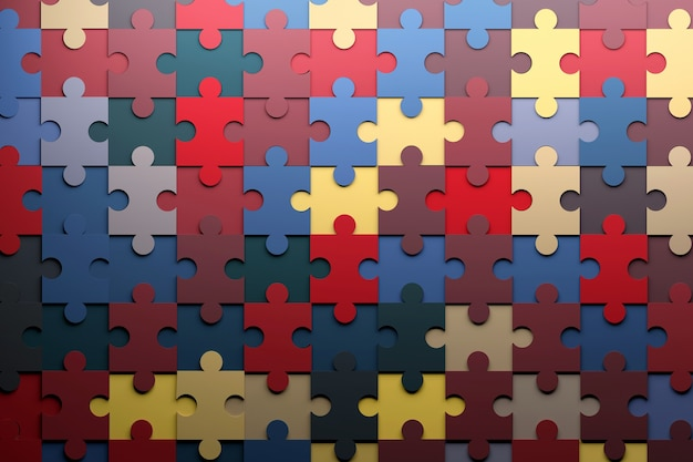 Sfondo con vibrante puzzle colorato pezzi disposti illustrazione 3d