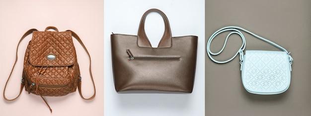 Zaino, borsetta, borsa su sfondo di carta