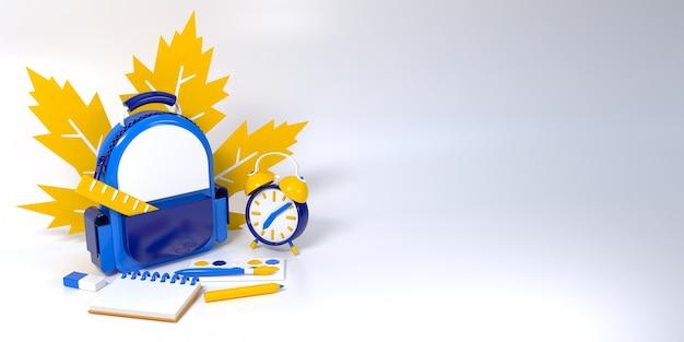 Zaino con materiale scolastico render su bianco. illustrazione di concetto 3d