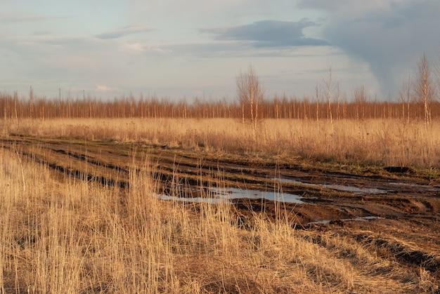 Brutta strada di campagna una strada sterrata danneggiata sterrato argilloso
