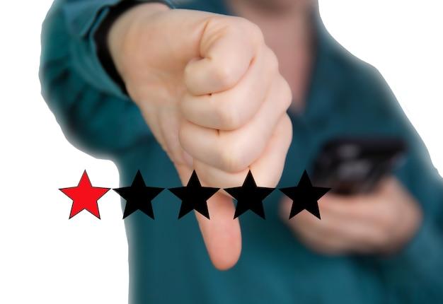 Recensione negativa, pollice verso il basso con stelle rosse per cattivo servizio non gradisce la cattiva qualità
