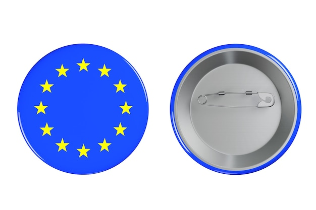 Distintivi con bandiera euro su sfondo bianco