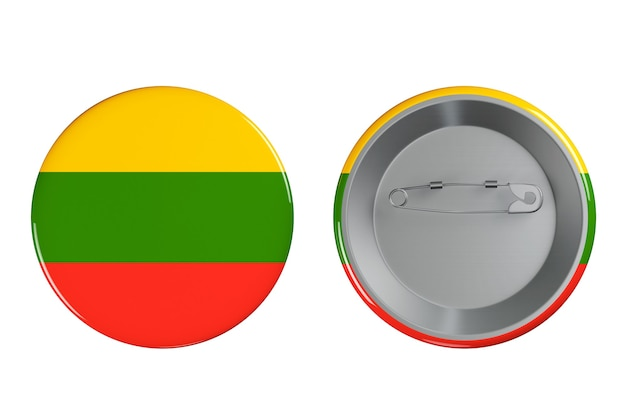 Distintivi con bandiera della lituania su sfondo bianco