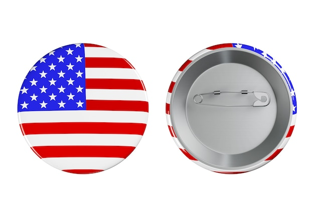 Distintivi con bandiera usa su sfondo bianco