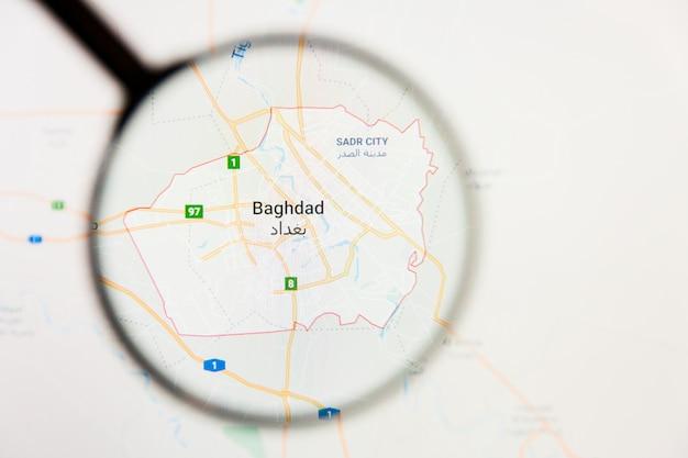Baghdad, iraq concetto di visualizzazione della città sullo schermo attraverso la lente di ingrandimento