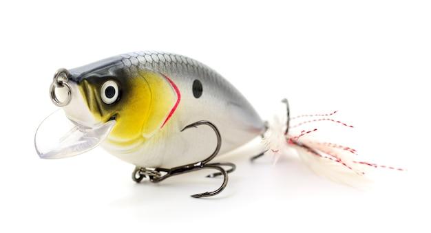 Esca per la pesca - wobbler isolato su sfondo bianco.