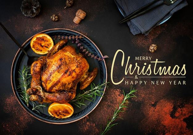 Pollo intero al forno con arance e rosmarino