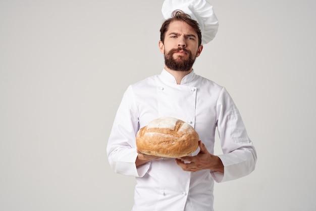 Baker cucina lavoro prodotti da forno sfondo isolato
