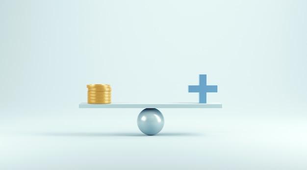 Equilibrio di denaro e immagine medica sull'azzurro.