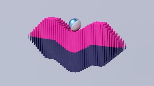 Palla che rotola su blocchi rosa e blu. illustrazione astratta, rendering 3d.