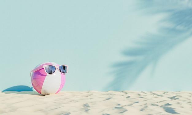 Palla con occhiali da sole sulla spiaggia di sabbia e palme parete ombreggiata. concetto di vacanza estiva. rendering 3d