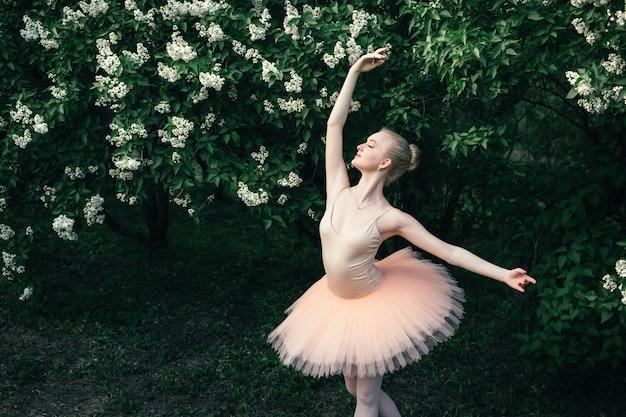Ballerina che balla albero sbocciante vicino all'aperto