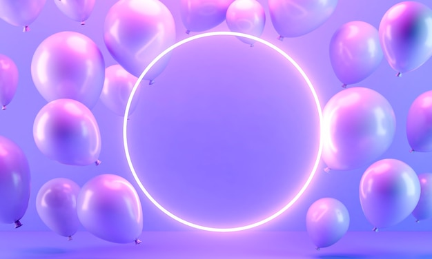 Disposizione di palloncini con cerchio luminoso