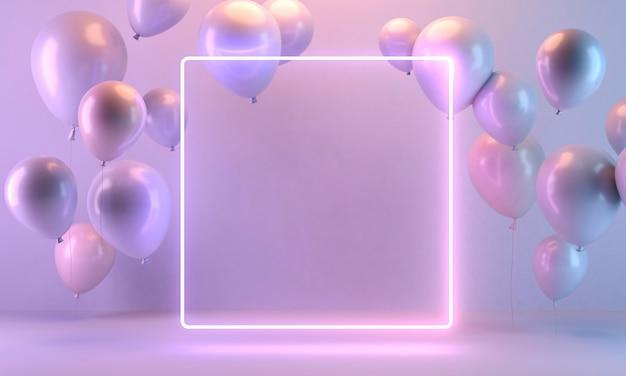 Disposizione palloncini con quadrato luminoso