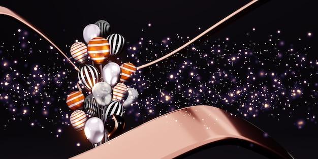 Palloncini e immagini di sfondo bokeh nastro multicolore giorno speciale sfondo 3d illustrazione