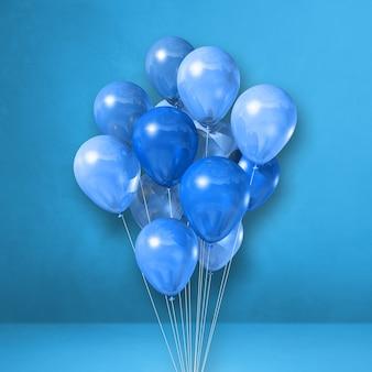 Mazzo di palloncini su uno sfondo di parete blu. rendering di illustrazione 3d