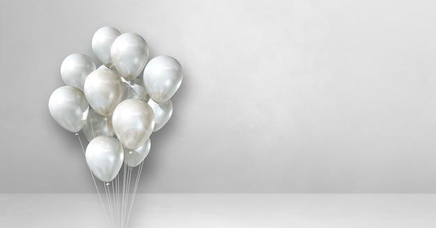 Mazzo di palloncini su uno sfondo di muro bianco. bandiera orizzontale. rendering di illustrazione 3d