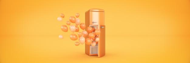 Palloncini e frigo congelatore rendering 3d