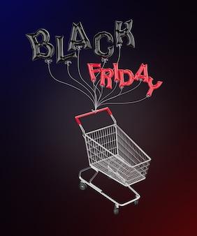 Palloncini a forma di lettere black friday legati a un carrello della spesa rendering 3d
