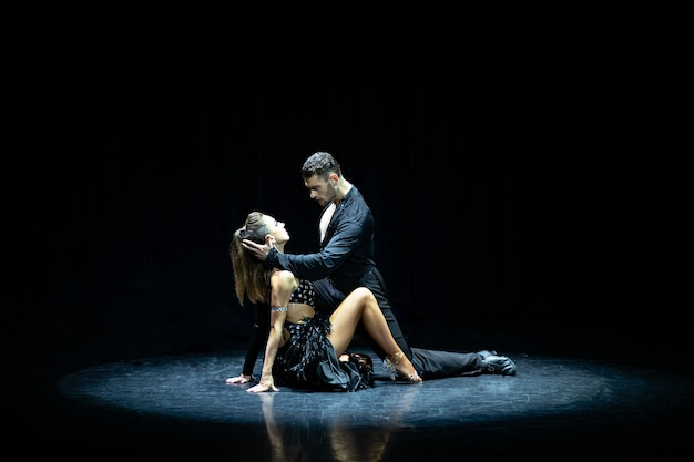 Dancing delle coppie della sala da ballo isolato sul nero.