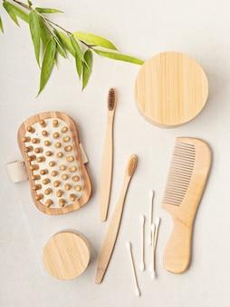 Articoli da toeletta in bambùetico, sostenibile, zero sprechi, nessuna idea di stile di vita in plastica