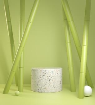 Il concetto di bambù dell'albero con il podio moderno minimo 3d rende