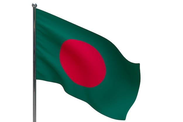 Bandiera del bangladesh in pole. pennone in metallo. bandiera nazionale del bangladesh 3d'illustrazione su bianco