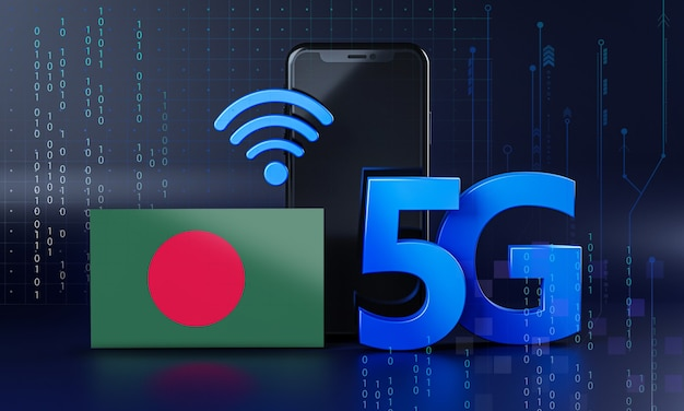 Bangladesh pronto per il concetto di connessione 5g. sfondo di tecnologia smartphone rendering 3d